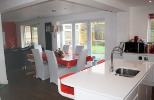 1-Completed kitchen with view to Bi-fold doors.